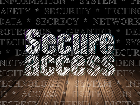 room access: Privacy concept: Glowing text Secure Access in grunge dark room with Wooden Floor, black background with  Tag Cloud