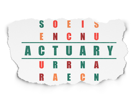 actuary: Insurance concept: Painted green word Actuary in solving Crossword Puzzle on Torn Paper background Stock Photo