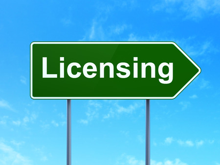 licensing: Law concept: Licensing on green road highway sign, clear blue sky background, 3d render