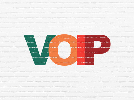 voip: Web design concept: Painted multicolor text VOIP on White Brick wall background