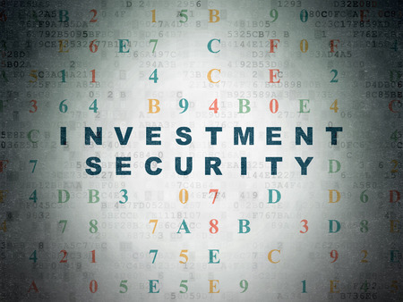 investment security: Privacy concept: Painted blue text Investment Security on Digital Paper background with Hexadecimal Code Stock Photo