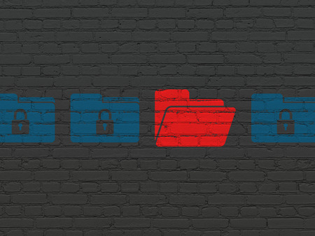 Protection concept: row of Painted blue folder with lock icons around red folder icon on Black Brick wall background