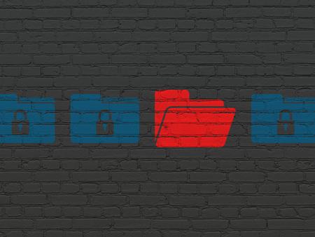 保護の概念: 黒レンガ壁の背景に赤いフォルダー アイコンの周りのロック アイコンで青い塗られたフォルダーの行
