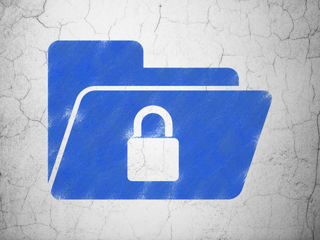 folder lock: Business concept: Blue Folder With Lock on textured concrete wall background