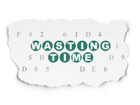 wasting: Time concept: Painted green text Wasting Time on Torn Paper background with  Hexadecimal Code Stock Photo