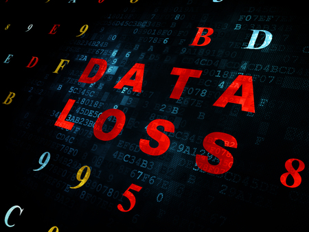 data loss: Information concept: Pixelated red text Data Loss on Digital wall background with Hexadecimal Code Stock Photo