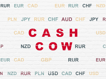 cash cow: Business concept: Painted red text Cash Cow on White Brick wall background with Currency