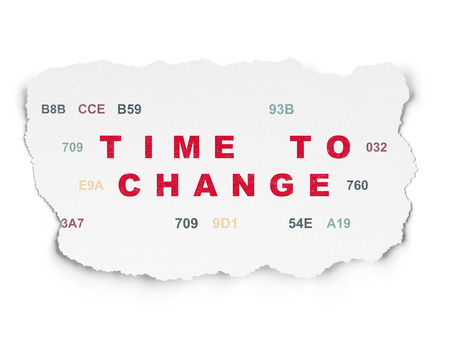 hexadecimal: Time concept: Painted red text Time to Change on Torn Paper background with  Hexadecimal Code