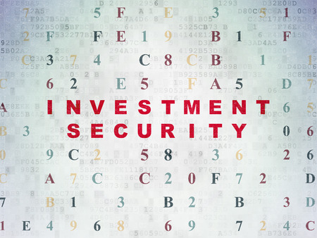 investment security: Security concept: Painted red text Investment Security on Digital Paper background with Hexadecimal Code