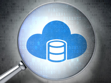java script: Database concept: magnifying optical glass with Database With Cloud icon on digital background Stock Photo