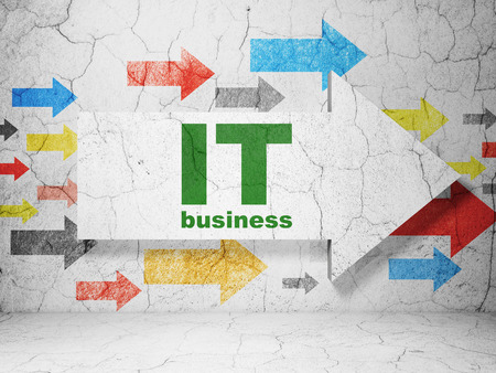 business it: Finance concept:  arrow with IT Business on grunge textured concrete wall background Stock Photo