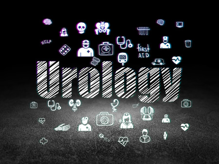 urology: Medicine concept: Glowing text Urology,  Hand Drawn Medicine Icons in grunge dark room with Dirty Floor, black background