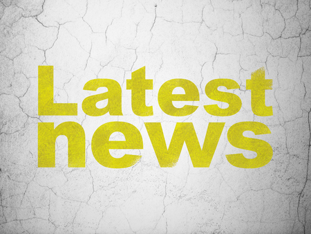 tabloid: News concept: Yellow Latest News on textured concrete wall background