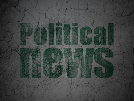 information age: News concept: Green Political News on grunge textured concrete wall background