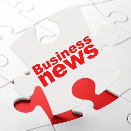brainteaser: News concept: Business News on White puzzle pieces background, 3d render