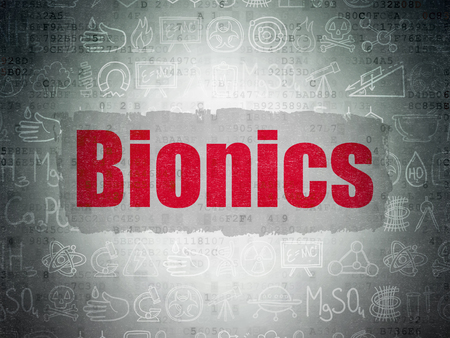 bionics: Science concept: Painted red text Bionics on Digital Paper background with   Hand Drawn Science Icons