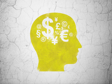 business education: Learning concept: Yellow Head With Finance Symbol on textured concrete wall background