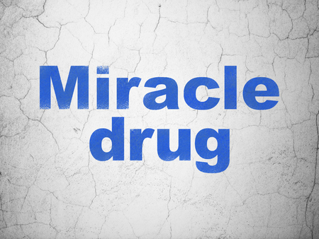 miracle: Health concept: Blue Miracle Drug on textured concrete wall background