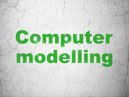 modelling: Science concept: Green Computer Modelling on textured concrete wall background