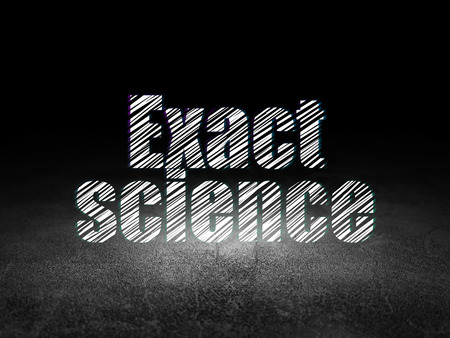 exact science: Science concept: Glowing text Exact Science in grunge dark room with Dirty Floor, black background Stock Photo