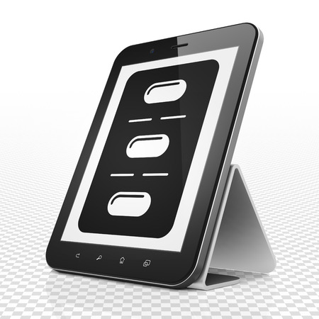 healing touch: Medicine concept: Tablet Computer with black Pills Blister icon on display Stock Photo