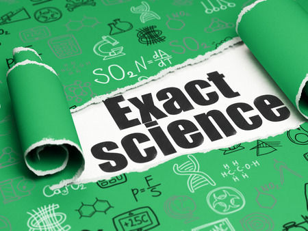 exact science: Science concept: black text Exact Science under the curled piece of Green torn paper with  Hand Drawn Science Icons Stock Photo