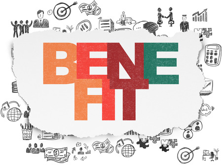 benefits: Finance concept: Painted multicolor text Benefit on Torn Paper background with  Hand Drawn Business Icons