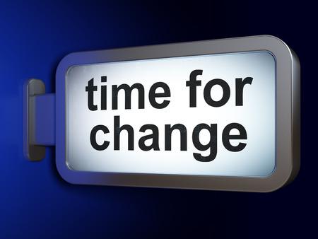 cronologia: Timeline concept: Time for Change on advertising billboard background, 3d render Foto de archivo