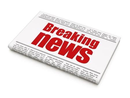 urgent announcement: News concept: newspaper headline Breaking News on White background, 3d render