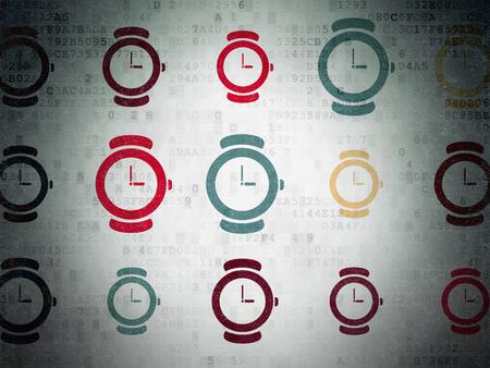 cronologia: Concepto de tiempo: Pintado iconos del reloj en el fondo multicolor papel digital