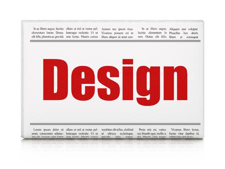 advertising design: Advertising concept: newspaper headline Design on White background, 3d render