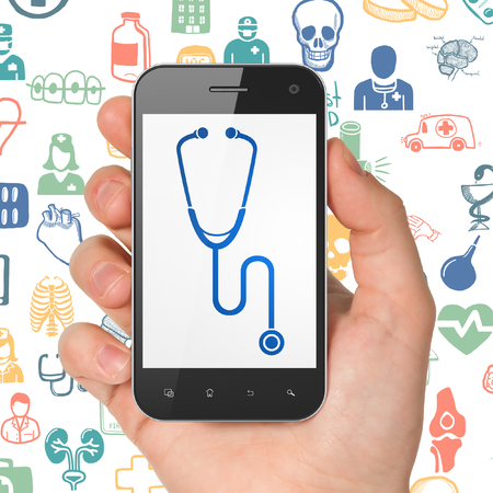 healing touch: Health concept: Hand Holding Smartphone with  blue Stethoscope icon on display,  Hand Drawn Medicine Icons background