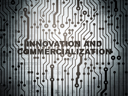 commercialization: Science concept: circuit board with  word Innovation And Commercialization, 3d render