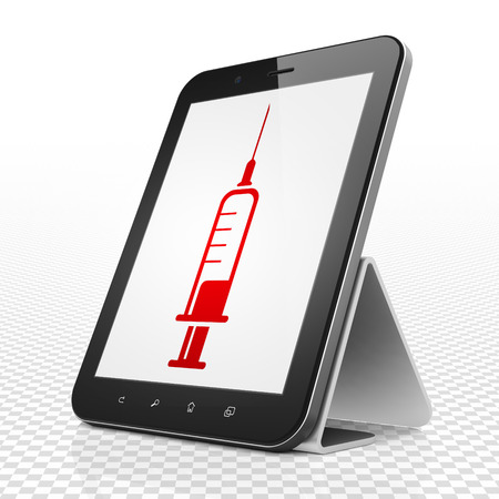 healing touch: Medicine concept: Tablet Computer with red Syringe icon on display