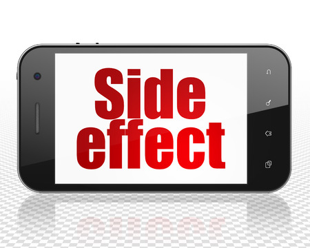 side effect: Health concept: Smartphone with red text Side Effect on display