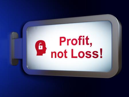 perdidas y ganancias: Concepto de las finanzas: Beneficio, no la p�rdida! y la cabeza con candado en publicidad fondo cartelera, 3d Foto de archivo