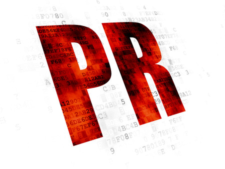 pixelated: Marketing concept: Pixelated red text PR on Digital background Stock Photo