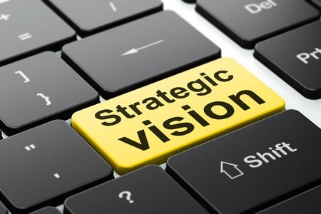 strategic focus: Business concept: computer keyboard with word Strategic Vision, selected focus on enter button background, 3d render Stock Photo