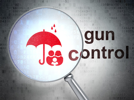 gun control: Protection concept: magnifying optical glass with Family And Umbrella icon and Gun Control word on digital background