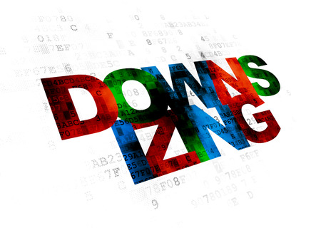downsizing: Business concept: Pixelated multicolor text Downsizing on Digital background
