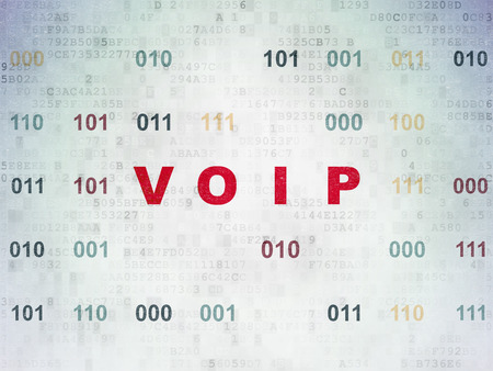 voip: Web development concept: Painted red text VOIP on Digital Paper background with Binary Code