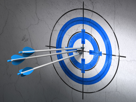 hitting a wall: Success finance concept: arrows hitting the center of Blue Target target on wall background