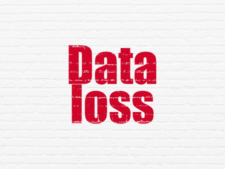 data loss: Data concept: Painted red text Data Loss on White Brick wall background