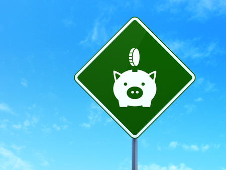 way bill: Money concept: Money Box With Coin on green road highway sign, clear blue sky background, 3d render