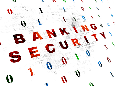 passkey: Protection concept: Pixelated red text Banking Security on Digital wall background with Binary Code