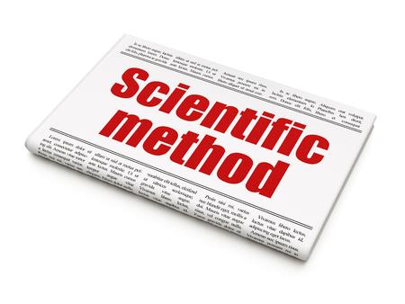 metodo cientifico: Concepto de la ciencia: titular de un peri�dico M�todo Cient�fico sobre fondo blanco, 3d