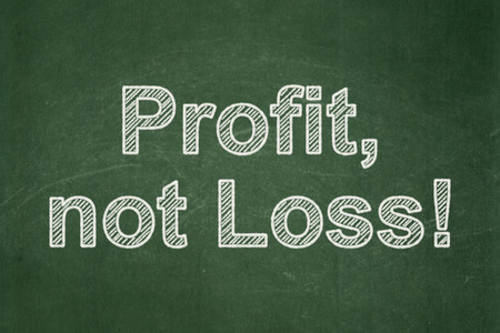 perdidas y ganancias: Finance concept: text Profit, Not Loss! on Green chalkboard background Foto de archivo