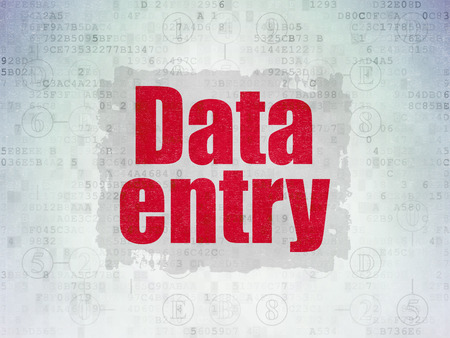 data entry: Data concept: Painted red text Data Entry on Digital Paper background with  Scheme Of Hexadecimal Code
