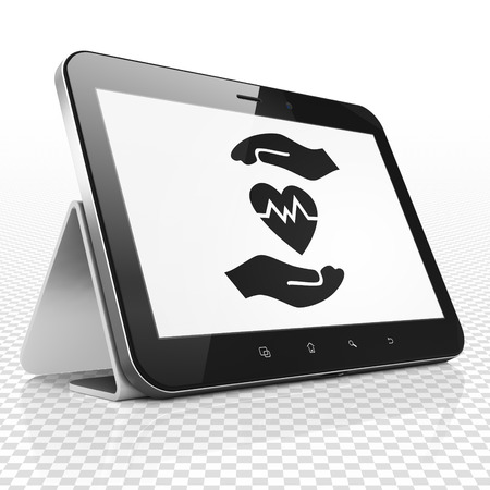 palm computer: Insurance concept: Tablet Computer with black Heart And Palm icon on display Stock Photo