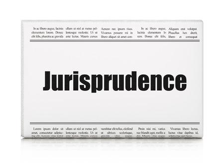 jurisprudencia: Ley concepto: Titular de periódico Jurisprudencia sobre fondo blanco, 3d
